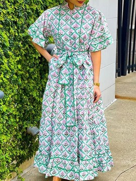 Ericdress Print Floor-Length Half Sleeve Fashion Pullover Floral Maxi Dress