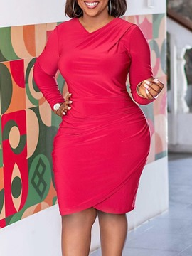 Ericdress Long Sleeve Mid-Calf Bodycon Plus Size Dress