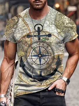 Ericdress Casual Print Round Neck Short Sleeve Pullover Men's Vintage T-shirt