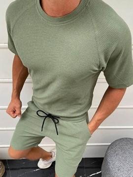 Ericdress Shorts Lace-Up Casual Pullover Round Neck Men's Two Piece Sets