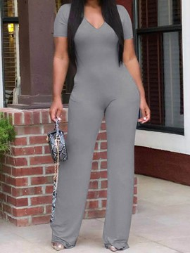 Ericdress Office Lady Plain Full Length Straight Women's Slim Jumpsuit
