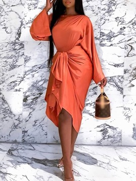 Ericdress Mid-Calf Pleated Long Sleeve Asymmetrical Bodycon Dress