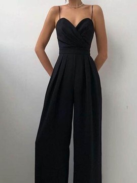 Ericdress Fashion Plain Backless Wide Legs Women's Slim Jumpsuit
