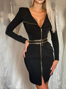 Ericdress Above Knee Long Sleeve Zipper Zipper Bodycon Dresses