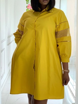 Ericdress Lapel Three-Quarter Sleeve Hollow Straight Single-Breasted Plus Size Dress