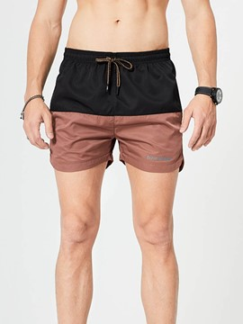 Ericdress Color Block Straight Lace-Up Casual Men's Shorts