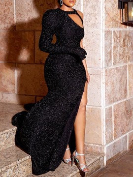 Ericdress Floor-Length Long Sleeve Sequins High Waist Bodycon Black Dress