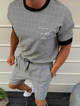 Ericdress Shorts Plaid Casual Pullover Straight Men's Two Piece Sets