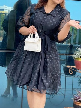 Ericdress Lace-Up Knee-Length Three-Quarter Sleeve Fashion Regular Dress