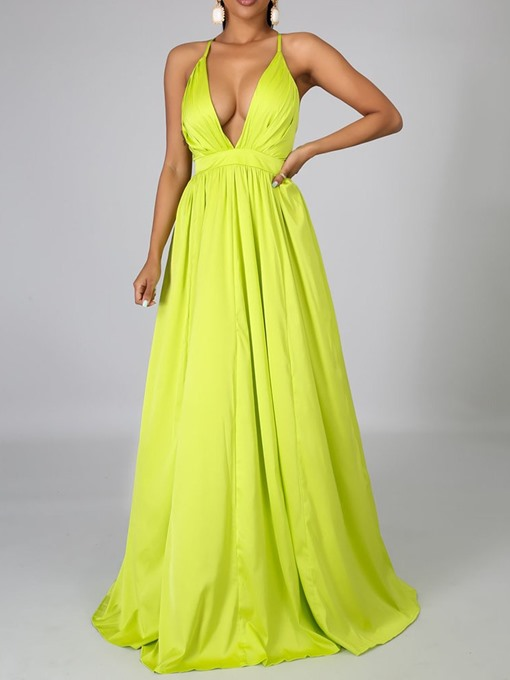 Ericdress Sleeveless Floor-Length V-Neck High Waist Maxi Dress