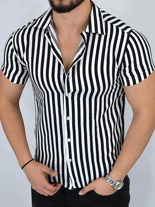 Ericdress Casual Lapel Stripe Single-Breasted Men's Shirt