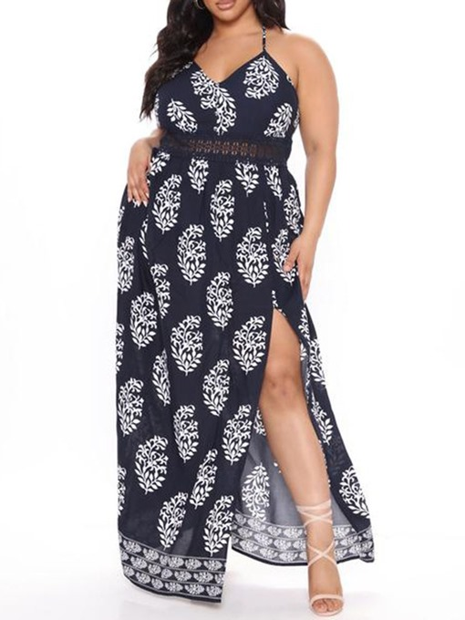 Ericdress Sleeveless V-Neck Split A-Line High Waist Maxi Dress