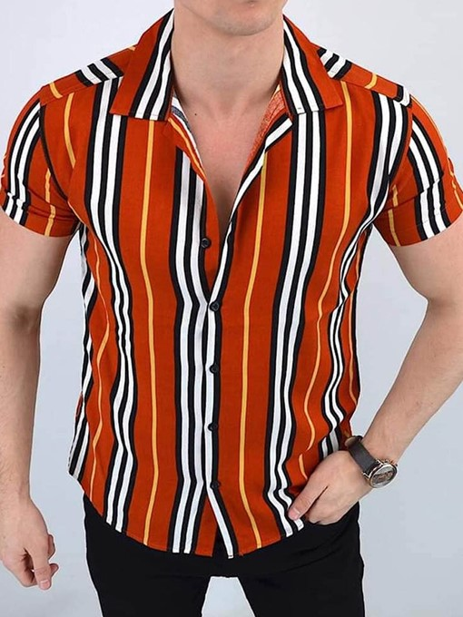 Ericdress Stripe Casual Button Single-Breasted Men's Shirt