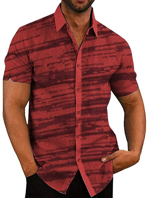 Ericdress Lapel Red Print Single-Breasted Men's Shirt