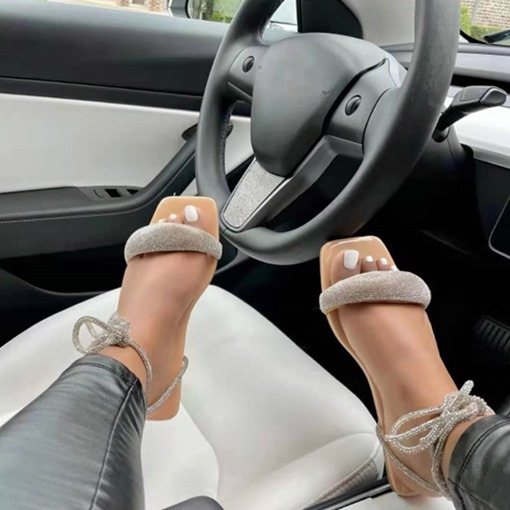 Ericdress Flat With Lace-Up Open Toe Plain Sandals