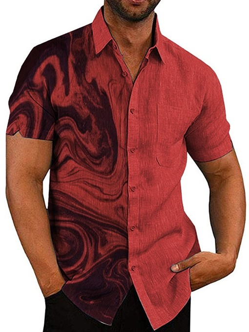 Ericdress Red Print Lapel Single-Breasted Men's Shirt