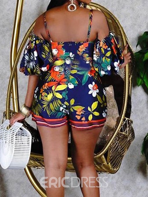 Ericdress Shorts Floral Office Lady Straight Women's Rompers