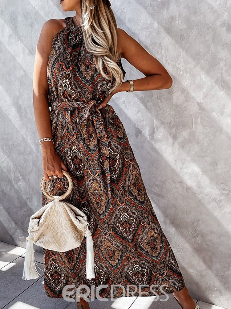Ericdress Ankle-Length Round Neck Short Sleeve Pullover Floral Maxi Dress Beach Dresses For Women