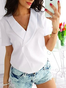 Ericdress Regular Patchwork Plain Short Sleeve Standard Women's Blouse