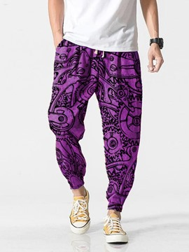 Ericdress Purple Print Pencil Pants Men's Casual Pants