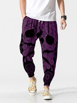 Ericdress Purple Print Pencil Pants Men's Slim Pants
