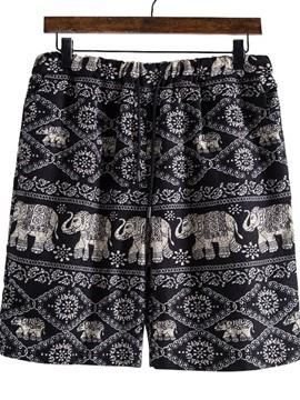 Ericdress Print Straight Floral Mid Waist Men's Beach Shorts