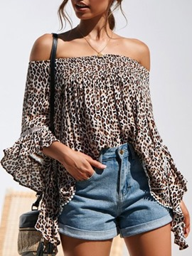 Ericdress Print Leopard Off Shoulder Standard Three-Quarter Sleeve Women's Blouse