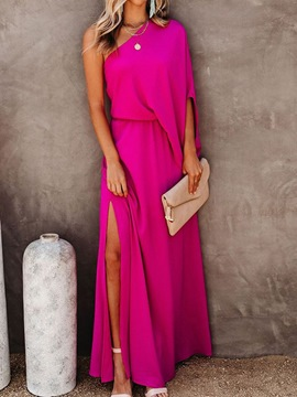 Ericdress Floor-Length Split Oblique Collar Plain Pullover Maxi Dress