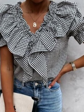 Ericdress Plaid Stringy Selvedge V-Neck Short Sleeve Standard Women's Blouse