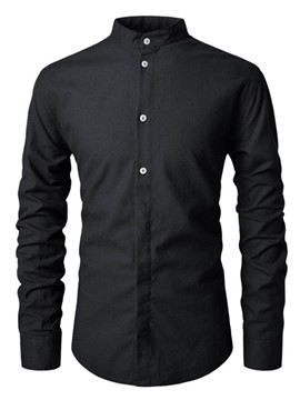 Ericdress Plain Button Casual Men's Slim Shirt