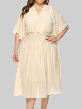 Ericdress Three-Quarter Sleeve V-Neck Mid-Calf Pullover A-Line Plus Size Dress