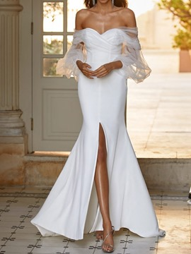Ericdress Floor-Length Split Nine Points Sleeve Trumpet Dress White Maxi Dress