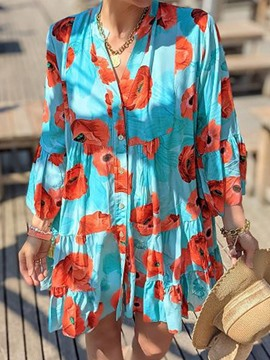 Ericdress Above Knee Button Nine Points Sleeve Fashion A-Line Floral Maxi Dress Beach Dresses For Women