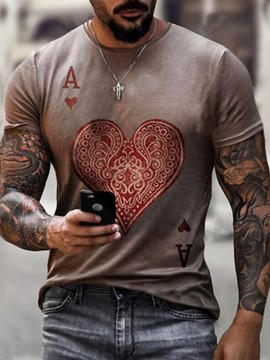 Ericdress Heart Shaped Round Neck Casual Short Sleeve Men's Slim T-shirt