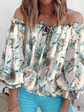 Ericdress Print Floral Off Shoulder Mid-Length Nine Points Sleeve Women's Blouse