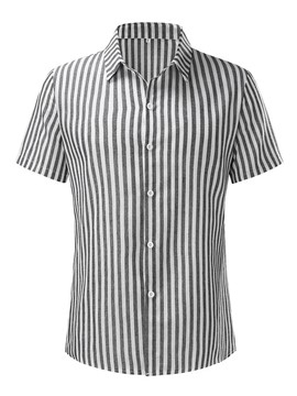 Ericdress Button Stripe Lapel Single-Breasted Men's Shirt