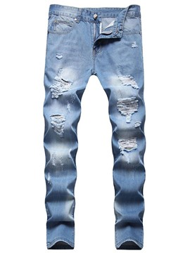 Ericdress Straight Hole Casual Zipper Men's Jeans