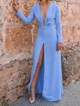 Ericdress Long Sleeve V-Neck Split A-Line Pullover Maxi Dress