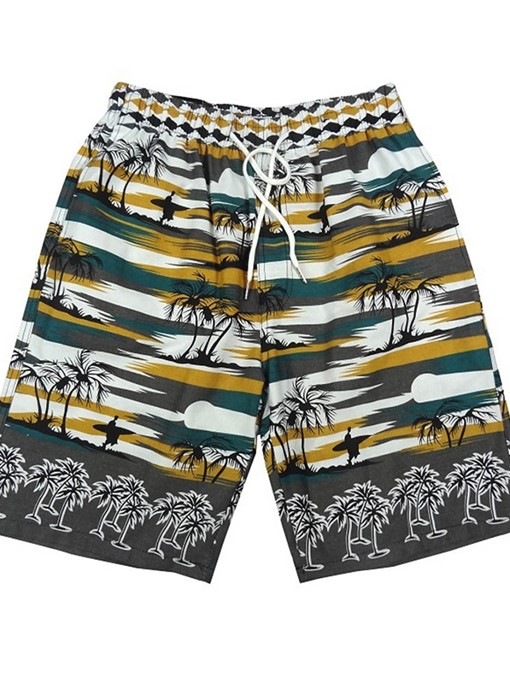 Ericdress Lace-Up Straight Men's Casual Beach Shorts
