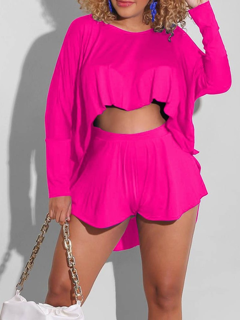 Ericdress Plain T-Shirt Fashion Pullover Round Neck Two Piece Sets Women′s Shorts Sets