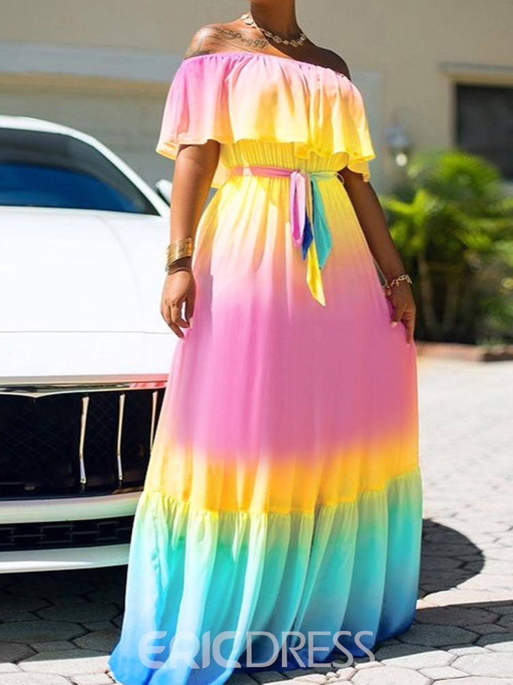 Ericdress Lace-Up Off Shoulder Short Sleeve Expansion Pullover Maxi Dress Beach Dresses For Women