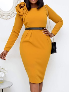 Ericdress Patchwork Mid-Calf Long Sleeve Regular Bodycon Dress