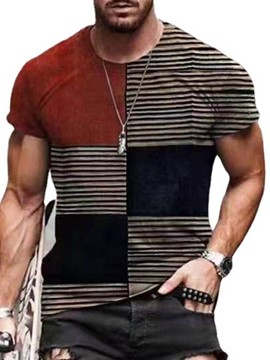Ericdress Round Neck Stripe Pullover Short Sleeve Men's T-shirt