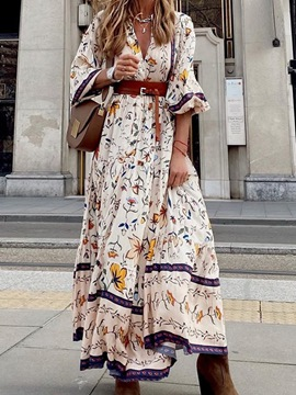 Ericdress Floor-Length Print Three-Quarter Sleeve Pullover Floral Maxi Dress