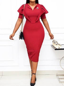 Ericdress Mid-Calf Short Sleeve V-Neck Office Lady Pencil Bodycon Dress