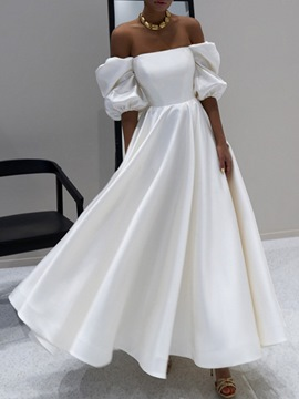 Ericdress Off Shoulder Half Sleeve Floor-Length Expansion Plain Maxi White Dress