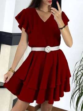 Ericdress Above Knee Patchwork V-Neck Pullover Dress