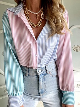 Ericdress Regular Color Block Button Long Sleeve Standard Women's Stripe Blouse