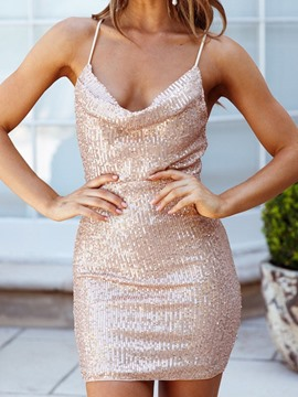 Ericdress Above Knee Sequins Sleeveless Bodycon Spaghetti Strap Dress