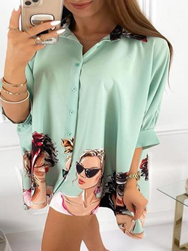 Ericdress Cartoon Print Lapel Mid-Length Three-Quarter Sleeve Women's Blouse